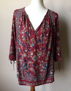 Lucky Brand Women's 1X Red Floral Paisley Shirt #LuckyBrand #KnitTop