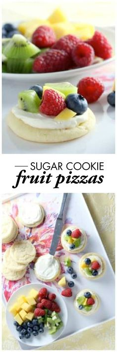 Mini Sugar Cookie Fruit Pizzas are the perfect recipe for spring entertaining! Your guests will love personalizing this pretty dessert with all their favorite fresh fruits, like strawberries, blueberries, or kiwis.