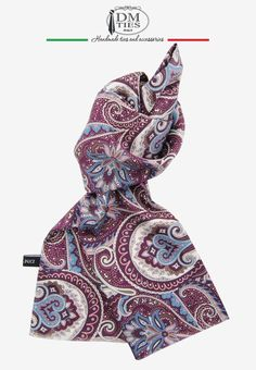 FANTASIA - Sciarpa foulard vinaccia in seta stampata - Ascot e Foulard uomo