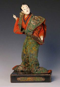 "Early Japanese Takeda Ningyo of a kabuki actor in the role of Kumagai Naozane from the play Kumagai Jinya (1751) Overall: 14"" high x 7-1/4"" wide x 6"" deep. Edo period, Circa 1780"