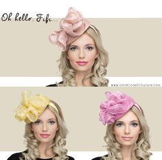 Fifi by The Niche Collection is one of our favorite, versatile designs and it comes in 3 lovely colors that make us think of spring flowers. This headband fascinator would be a stunning Kentucky Derby hat look that's easy and comfortable for all day wear. Fascinator Hats, Fascinators, Fancy Hats, Kentucky Derby Hats, Spring Flowers, Hats For Women, Wedding Day, Crochet Hats, Bridal