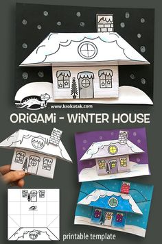 origami maison d'hiver (tutoriel - DIY) children activities, more than 2000 coloring pages Winter Art Projects, Winter Crafts For Kids, Winter Fun, Projects For Kids, Art For Kids, House Projects, Holiday Crafts, Kids Crafts, Diy And Crafts