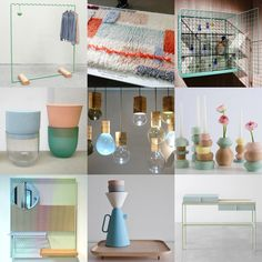 Color + Shapes + Texture: Milan Design Week 2014 presented pastels, matte, copper, woods, glass, etc.and round or abstract shapes--not bold colors. Reminiscent of nonsensical + playful Memphis style?