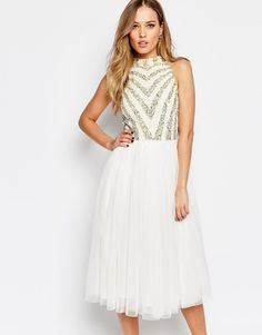 Maya+Embellished+2+In+1+Midi+Dress+With+Tulle+Skirt