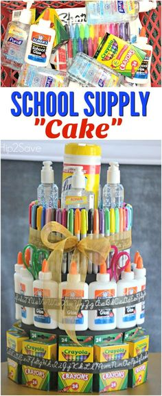 "DIY School Supply ""Cake"" (Back to School Gift Idea) - Schulmaterial - Teacher Supply Cake, Teacher Cakes, Teacher Party, Donate School Supplies, School Supplies Cake, Teacher Supplies, Back To School Supplies Diy, School Supplies For Teachers, Back To School Party"