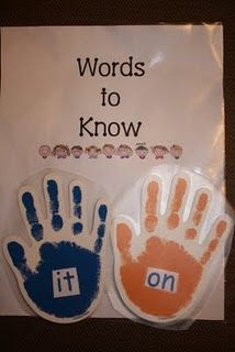 "sight words attached to the ""Words To Know"" chart with velcro. The chart hangs by the classroom door. When students exit the room during dismissal, they read the words aloud as they high-five the words on the way out."
