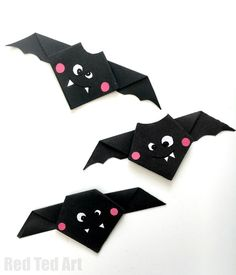 What's new with you?  Red Ted Art Public 1s Super cute and *easy Origami Bats* for kids. This is  a great Origami for beginners project - as it is quick and easy to make. Then embellish it to make it super cute and fun! Brilliant little *Halloween Craft for kids*!