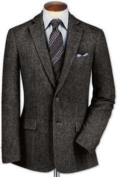 Slim Fit Charcoal Lambswool Hopsack Wool Jacket by Charles Tyrwhitt