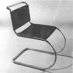 Ludwig Mies van der Rohe, tubular steel chair manufactured by Berliner Metallgewerbe J. Müller (1927).  According to Máčel, this chair was later manufactured by Bamberg Metallwerkstätte in 1931 and Thonet in 1932.