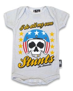 BABY ONESIE ROCKABILLY SIX BUNNIES GIRLS BOYS TATTOO MY OWN STUNTS SKULL