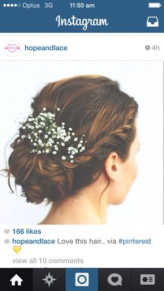 I like something simpler like this for the babies breath in the flower girls hair. They are most likely going to be wearing high buns and an added sprig of babies breath with something sparkly would be perfect.