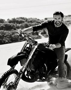 Hugh Jackman on a motorbike...yum! Still can't get over that he was a P.E Teacher, that he wasn't MY P.E Teacher!