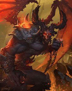 Demon – fantasy/horror concept by zhou he Fantasy Demon, Fantasy Monster, Monster Art, Dark Fantasy Art, Fantasy Artwork, Dark Art, Monster Illustration, Ange Demon, Demon Art