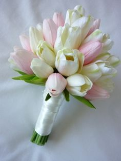 tulip bouquets wedding | Classic Tulip Bridal Bouquet artificial wedding bouquet
