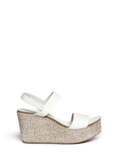 PEDRO GARCÍA - 'Dulce' burlap wedge leather sandals | White Sandals High Heels | Womenswear | Lane Crawford