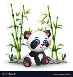 Vector illustration of Baby panda sitting among bamboo stem Tiny Panda, Niedlicher Panda, Cartoon Panda, Panda Art, Panda Lindo, Pandas Playing, Cute Panda Wallpaper, Panda Nursery, Baby Panda Bears