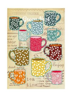 Vintage Tea Cups Collage Poster Print by GreenNest on Etsy