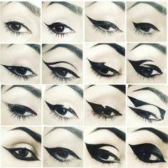 Kat Von D's various eye liner styles