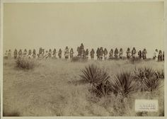 """Scene in Geronimo's camp, the Apache outlaw and murderer. Taken before the surrender to Gen. Crook, March 27, 1886, in the Sierra Madre mountains of Mexico, escaped March 30, 1886."" ""Copyright, 1886, by C. S. Fly, Tombstone, Ariz."""