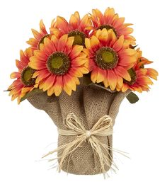 Fall For All Sunflower Potted Arrangement Orange 13''