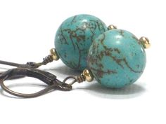 Turquoise EarringsBlue Green Aqua Robins Nest Brown by CCARIA, $13.00