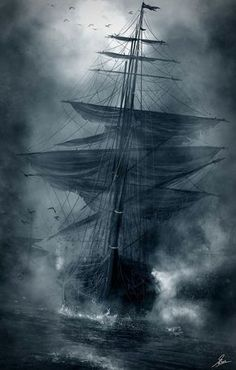 When navigating the seas, Vikings used crows as navigational equipment. Natur Wallpaper, Bateau Pirate, Old Sailing Ships, Ocean Sailing, Pirate Art, Pirate Ships, Pirate Crafts, Ship Paintings, Ghost Ship