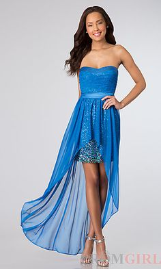 Hailey Logan High Low Strapless Sequin Dress