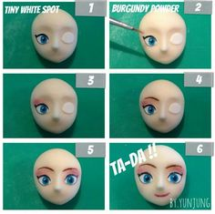 Fondant Face Tutorial - Disney Frozen Queen Elsa part 4 of guideline to create many character faces Fondant Face Tutorial, Cake Topper Tutorial, Fondant Toppers, Fondant Cakes, Cupcake Cakes, Cupcakes, Mini Cakes, Fondant People, Fondant Animals