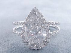 3.81 ctw Pear Shape Diamond Engagement Ring D SI1. For sale for $24,990 on our website www.bigdiamondsusa.com or call us at 1-877-795-1101 for more information.