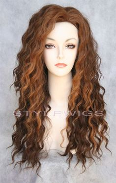 Brown/Auburn/Blonde+3+Tone+Mix+Human+Hair+Blend+HEAT+OK+Curly+Wig+SABR+27/4/30