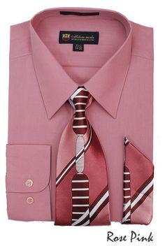 Fortino Landi Men/'s Dress Shirt w// Tie Red Hanky and Cufflinks Set FL632 Black