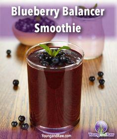 Blueberry Balance Smoothie Recipe on YoungandRaw.com: http://www.youngandraw.com/blueberry-balancer-smoothie/