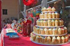 Carnival-themed baby shower, a photo booth, & a cupcake stand tutorial