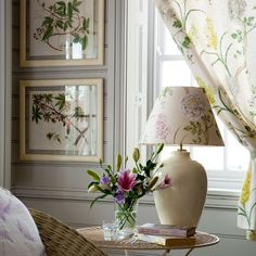 Light and airy. A bespoke lampshade is a clever way to showcase beautiful florals. Use the same pattern on soft furnishings such as curtains, using botanical prints to emphasise the theme. Decor, Room, Cozy Decor, Home, Decor Magazine, Living Room Lighting, Floral Decor, Decorating Your Home, Decorating Details
