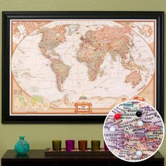 Proudly display your world travels on this stunningly detailed 24 x 36 Push Pin World Travel Map. The rich tones of this Political Executive