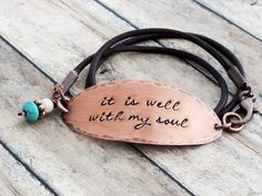 It Is Well With My Soul Jewelry Leather Wrap Bracelet by ATwistOfWhimsy