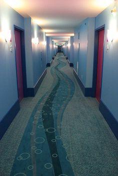 Finding Nemo hallway at Disney's Art of Animation Resort Disney Value Resorts, Disney World Resorts, Disney Vacations, Disney Trips, Disney Parks, Disney World News, Disney World Planning, Walt Disney World, Disney Love