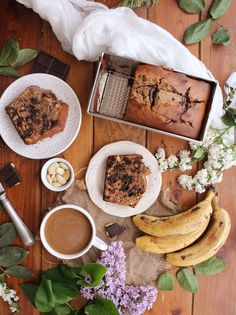 Delicious banana bread flavoured with almond butter, espresso coffee and chocolate.