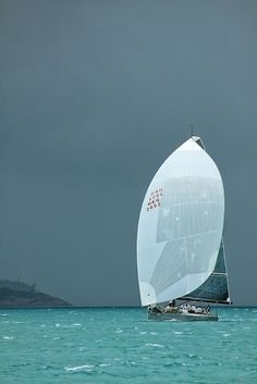 sailing from a storm - I might be thinking about taking that big spinnaker down.