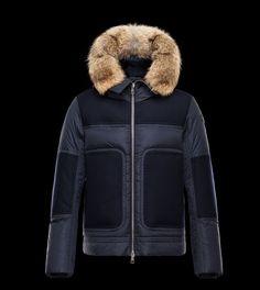 Nouveau Homme Doudoune Moncler Dedion veste fourrure pour capuche bleu Haute Qualité