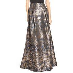 Women's Eliza J Metallic Floral High Waist Ball Skirt (1430715 PYG) ❤ liked on Polyvore featuring skirts, black gold, high-waist skirt, long floral skirts, floral print maxi skirt, ball skirts and gold maxi skirt