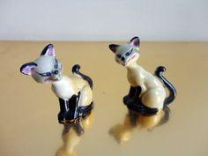Vintage Ceramic Siamese Cat Figurines