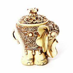 Aura Decorative Elephant Box Off White,Knick Knacks-Knick-Knacks