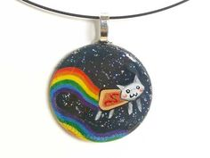Nyan Cat Pendant White Hand Painted Necklace by rainbowofcrazy