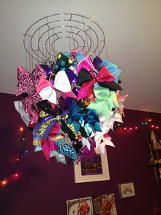 """Wishing you had a bow chandelier"" Greatest thing I have ever seen for cheer-leading stuff! All Star Cheer, Cheer Mom, Cheer Stuff, Big Bows, Cute Bows, Cheer Buckets, Cheers, Cheerleading Bows, Cheerleader Gift"