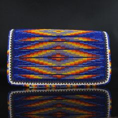 Beadwork: Blue Checkbook Cover Native American Beadwork