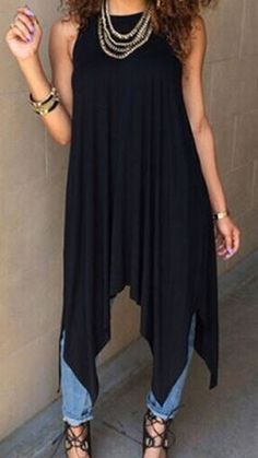 Love this Outfit! Casual Chic Casual Sleeveless Solid Color High-Low Hem Black Midi Dress