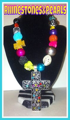 Bright Chunky Colorful Cross Pendant Necklace by MalloryDeanne, $25.00