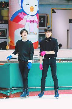 """changmin ice skating with juyeon Beautiful Boys, Beautiful People, Changmin The Boyz, Lotte World, Chang Min, Kim Sun, Star Awards, 12th Man, Pop Singers"