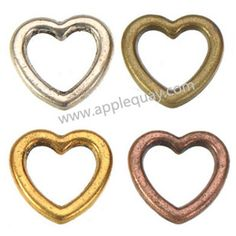 Zinc Alloy Heart Love Ring Beads,Plated,Cadmium And Lead Free,Various Color For Choice,Approx 10*11*2mm,Sold By Bags,No 002326